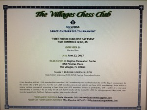 The Villages Chess Club tournament Information